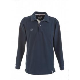 Long-sleeved men polo shirt - midnight blue