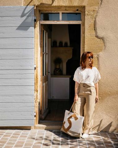 Reisetasche Carla - Leinen und leder