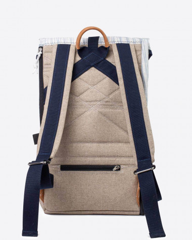 Dinghy backpack burby - linen and leather