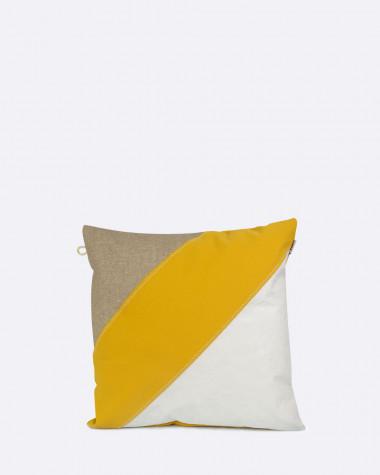 Coussin 40x40 lin et moutarde