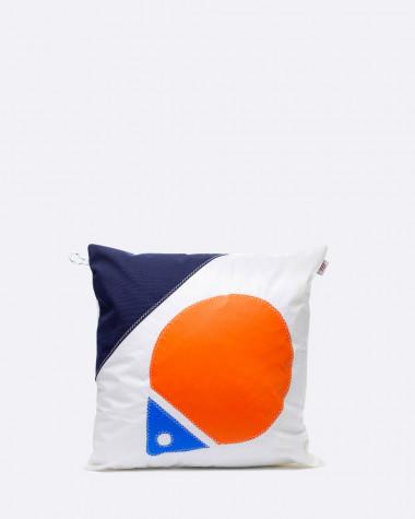 Kissen 40x40 Flottille orange und blau Schwimmring