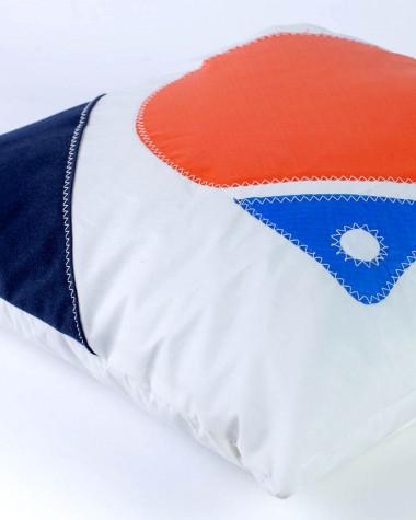 Coussin 40x40 Flottille bouée orange et bleu