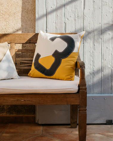 Coussin 50x50 blanc/moutarde