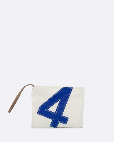 Pochette dragonne blanc/bleu