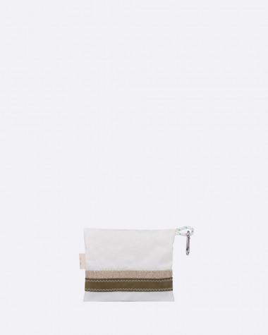 Pocket Lin et cuir Kaki