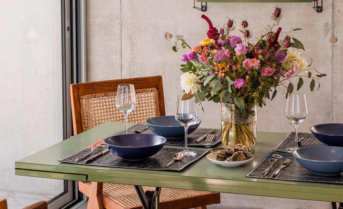 Set de table gris et bleu