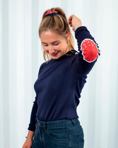 Women's sailor sweater Merinos Wool Violette Dorange