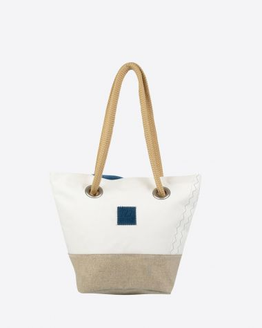 Hand Bag Legend - Linen and blue leather