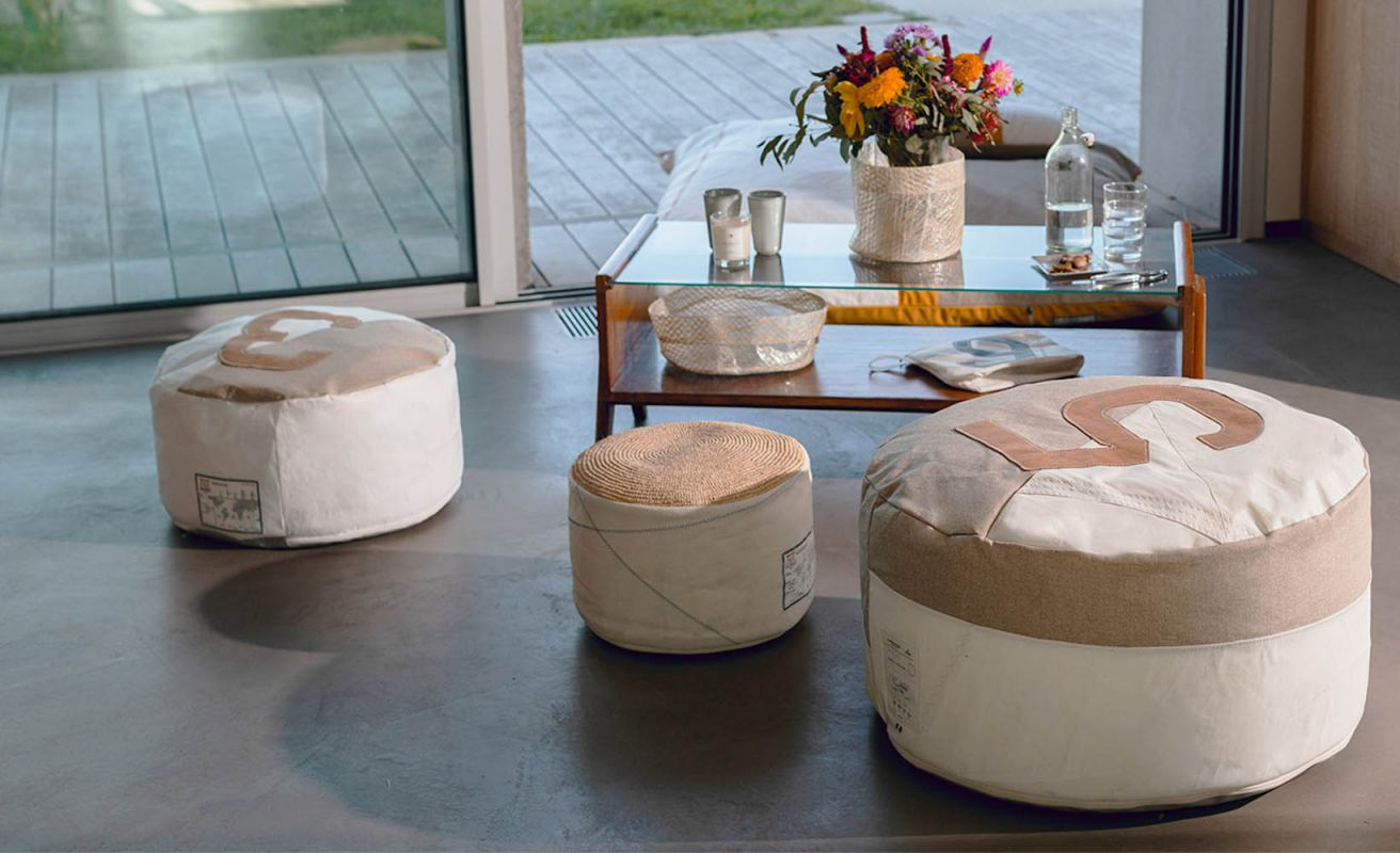 Housse Pouf Duo Lin et cuir French Riviera ⌀72