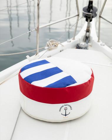 Pouf Solo marinière Marine nationale ⌀54