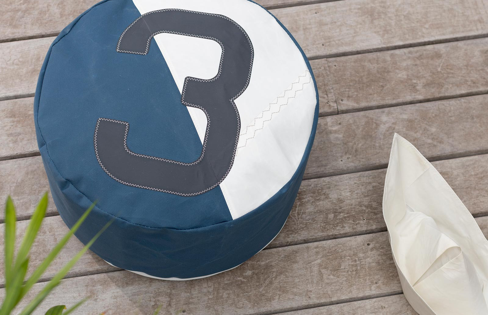 727Sailbags pouffes in recycled sailcloth.