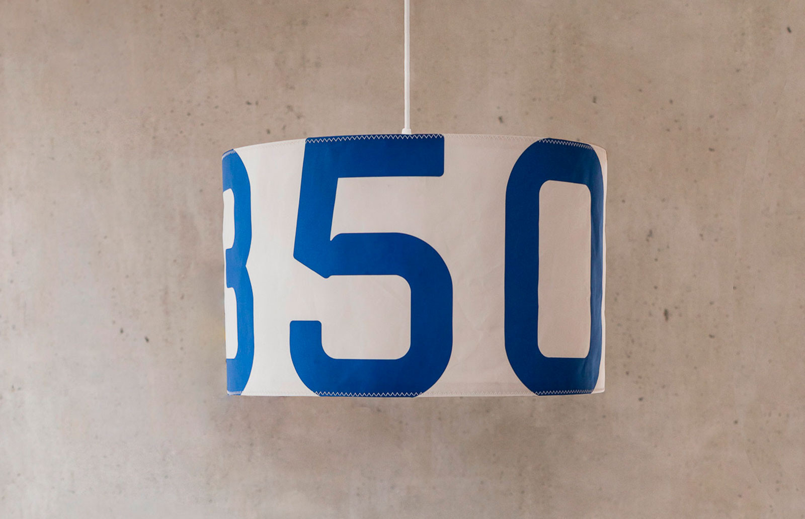 727Sailbags suspended lamp in recycled sailcloth