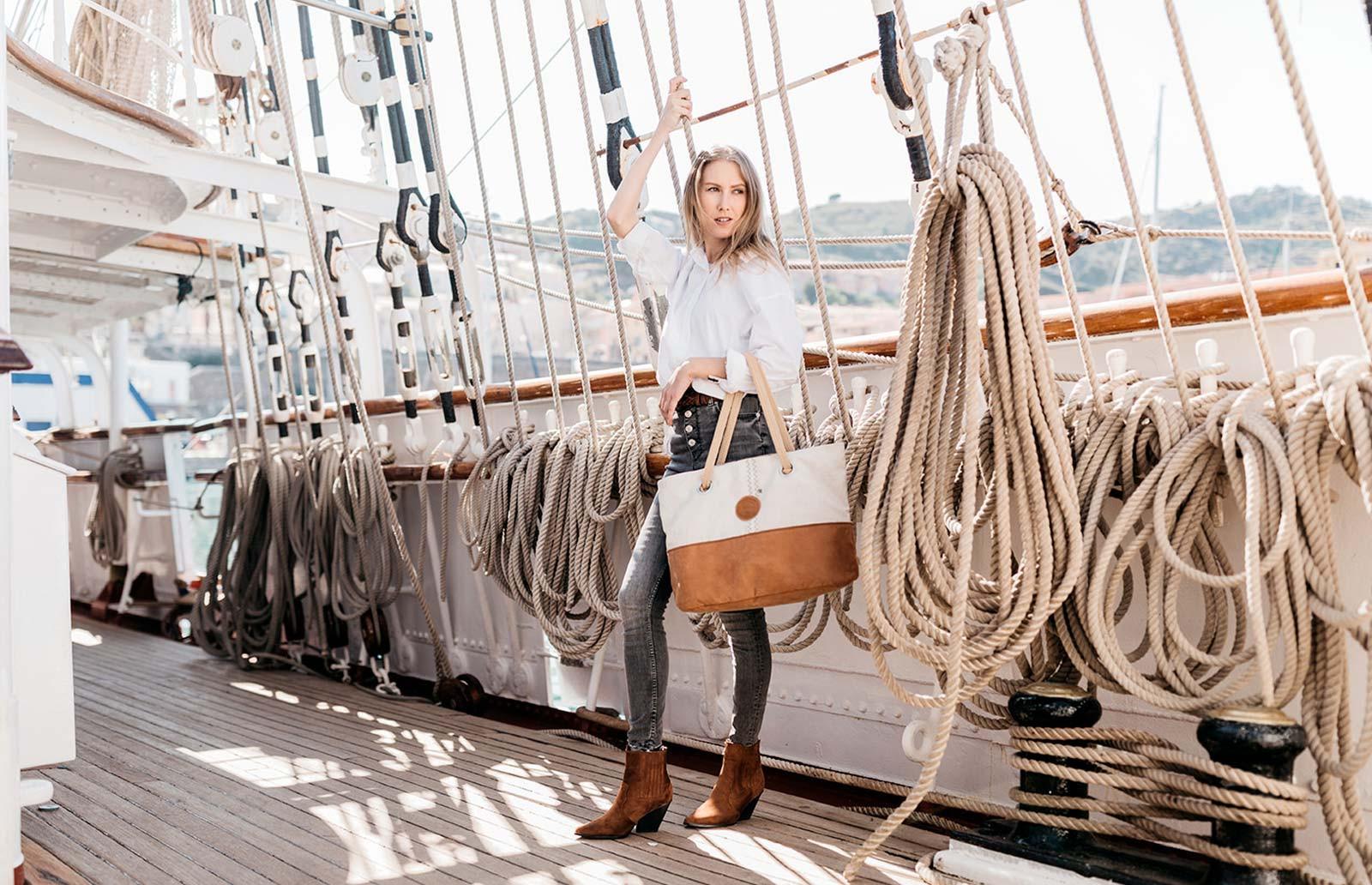 Sac à main Charlie en toile de bateau recyclée | 727 Sailbags